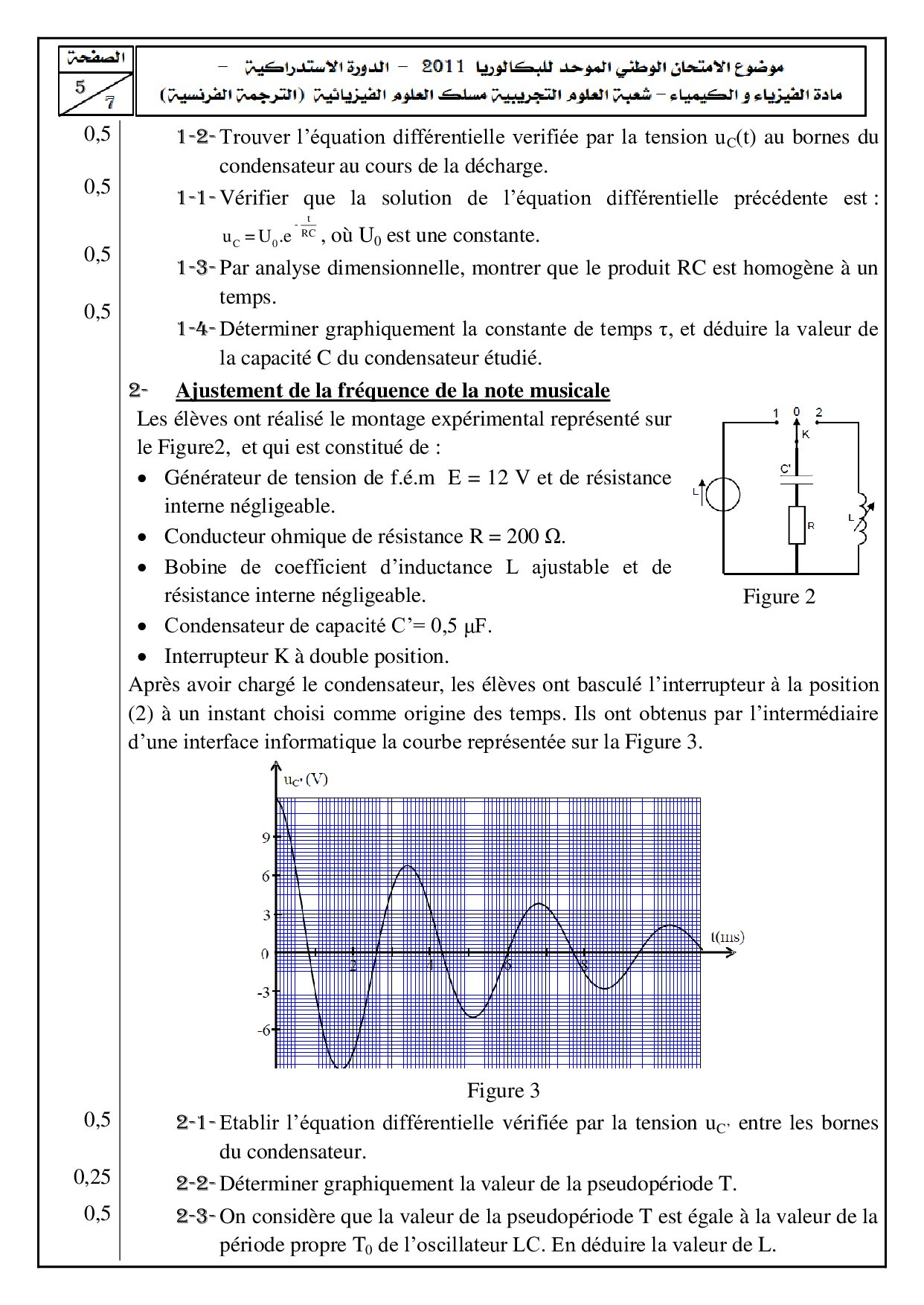 Examen National Physique-Chimie SPC 2011 Rattrapage - Sujet5.jpg