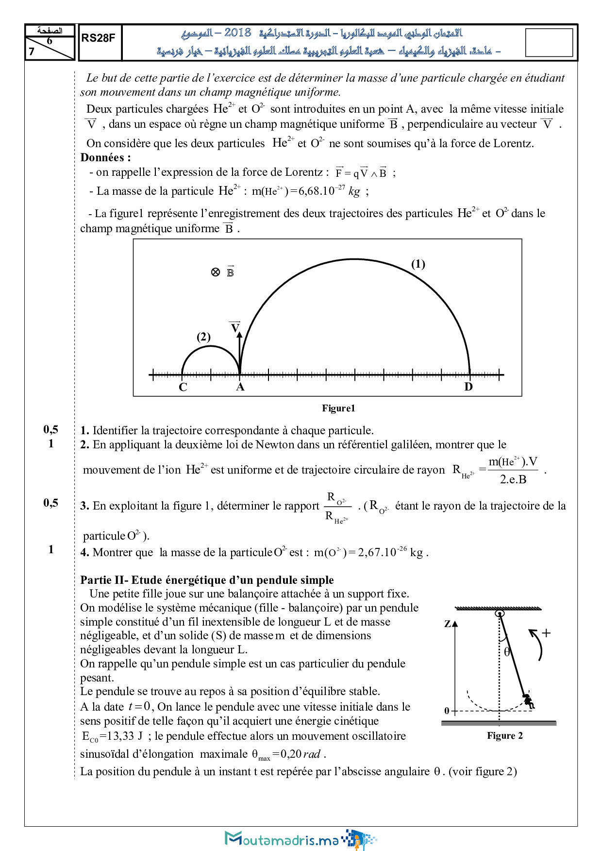 Examen National Physique-Chimie SPC 2018 Rattrapage - Sujet6.jpg